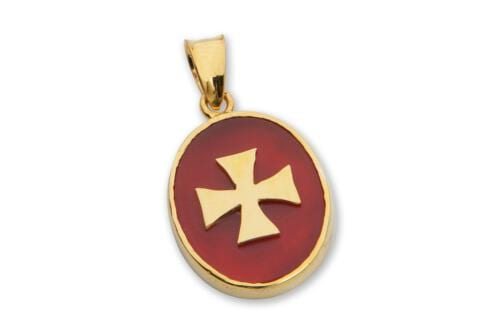 Red Agate Templar Cross Pendant - Gold Plated Sterling Silver