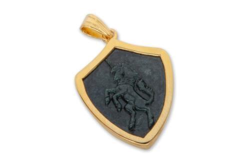 Gold Plated Black Onyx Unicorn Pendant