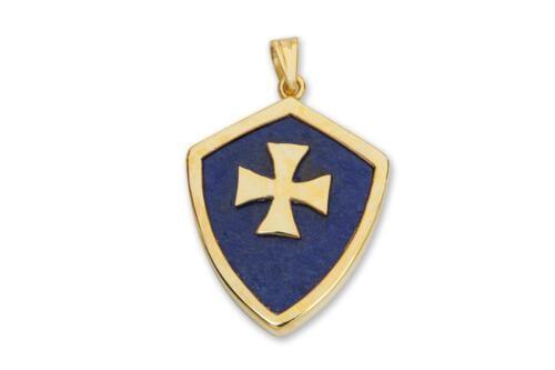 Lapis Pendant - Heraldic Templar Cross - Gold Plated Sterling Silver
