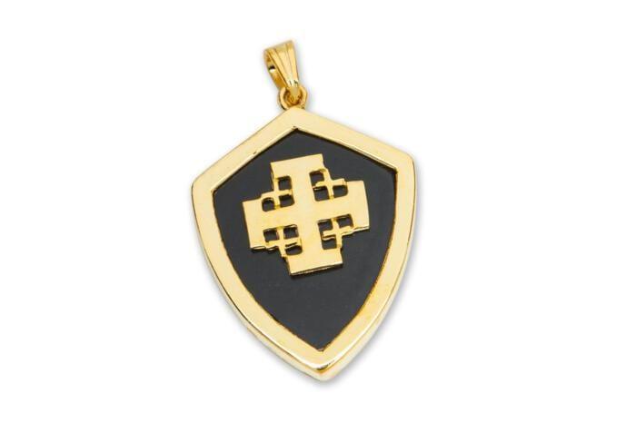 Jerusalem Cross Pendant Black Onyx Genuine Gemstone Gold Plated Sterling Silver 925