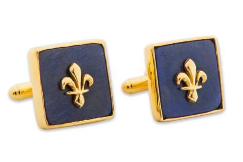 Square Lapis Fleur De Lys Cufflinks - Gold Plated Sterling Silver