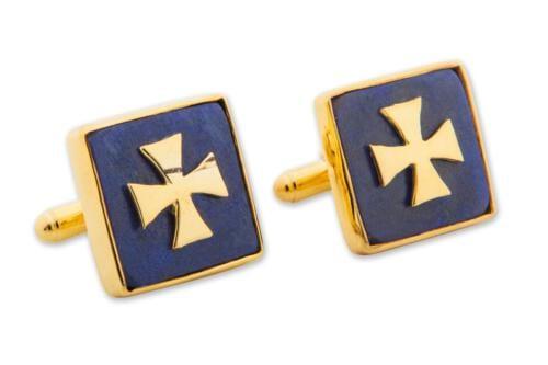 Lapis Templar Cross Cufflinks - Gold Plated Sterling Silver