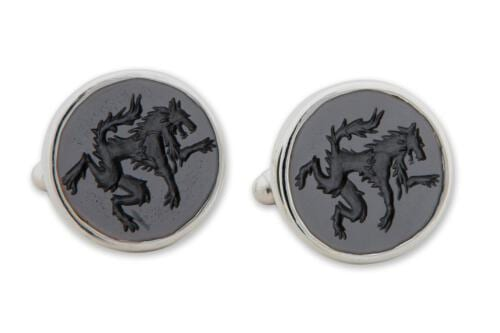 engraved Wolf Cufflinks