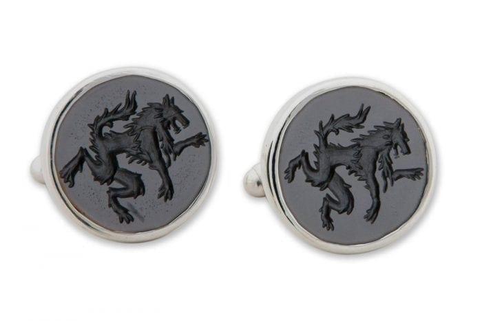 engraved Wolf Cufflinks