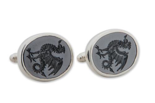 Black Onyx Cockatrice Cufflinks Silver