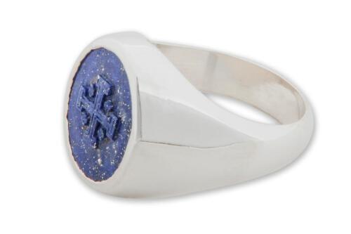 Lapis Jerusalem Cross Ring - Sterling Silver