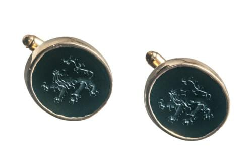 Engraved black onyx lion cufflinks