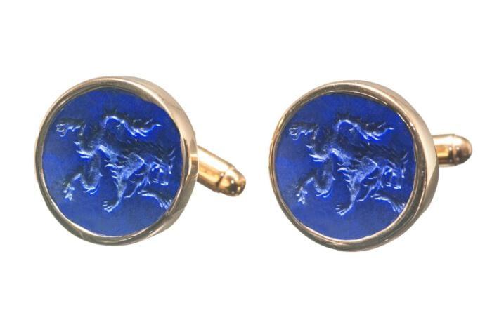 Lapis Cufflinks Hand Engraved Genuine Gemstone Rampant Wolf Gold Plated Sterling Silver 925