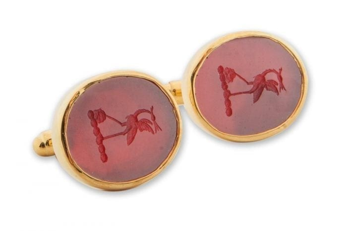 Red Agate stork cufflinks