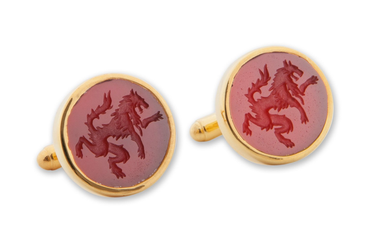 Red agate wolf cufflinks - Regnas Jewelry