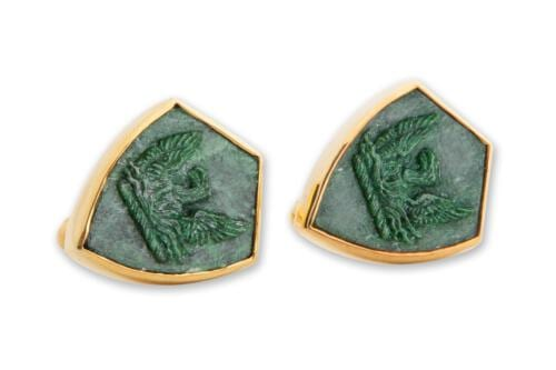 Hand carved phoenix cuff links