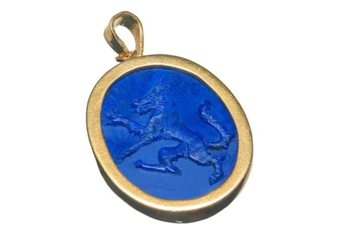 Wolf Pendant Lapis Heraldic Hand Carved Genuine Gemstone Gold Plated Sterling Silver 925