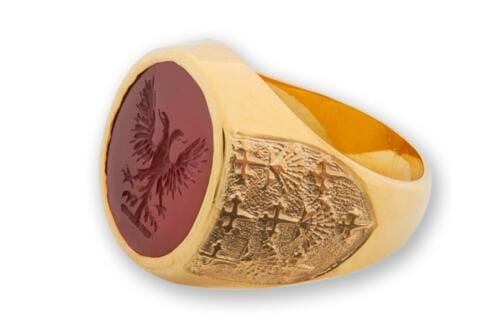 Red Agate Eagle Family Crest Ring Set To Gold Plated Sterling Silver