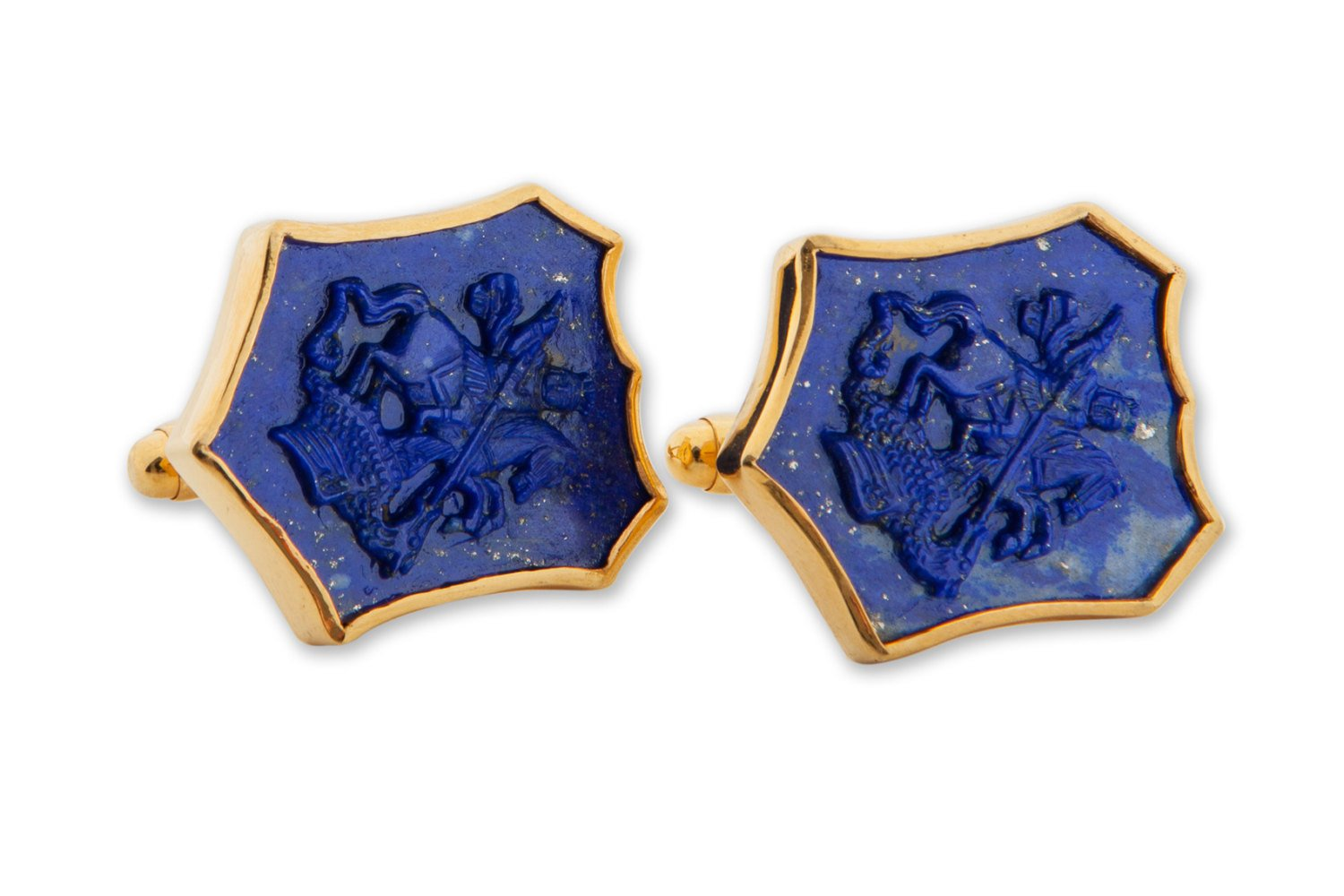 Lapis Shield Cufflinks