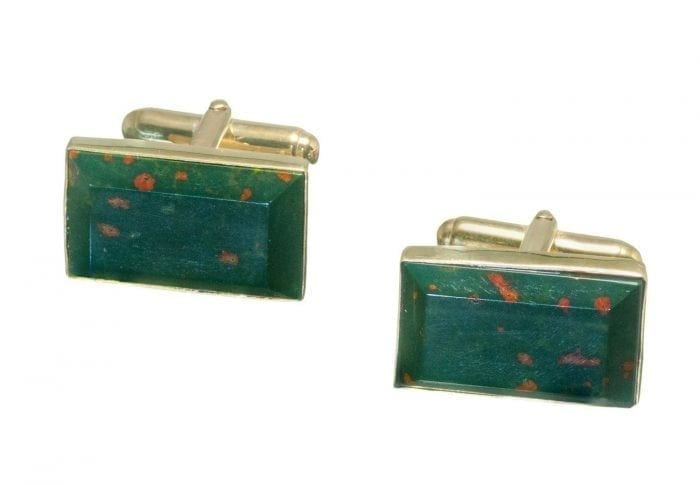 bloodstone rectangular cufflinks on gold