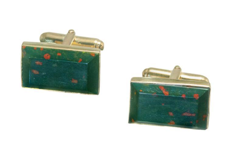 bloodstone rectangular cufflinks on gold