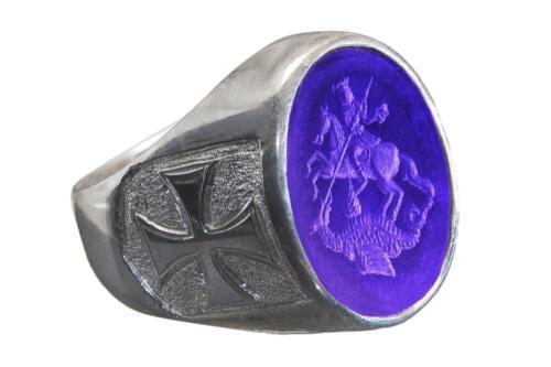 Amethyst Ring Saint George Engraved Intaglio - SS18X80