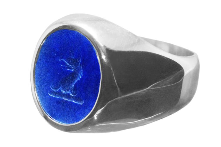 Lapis Crested Ring Heraldic Griffin Signet Sterling Silver 925
