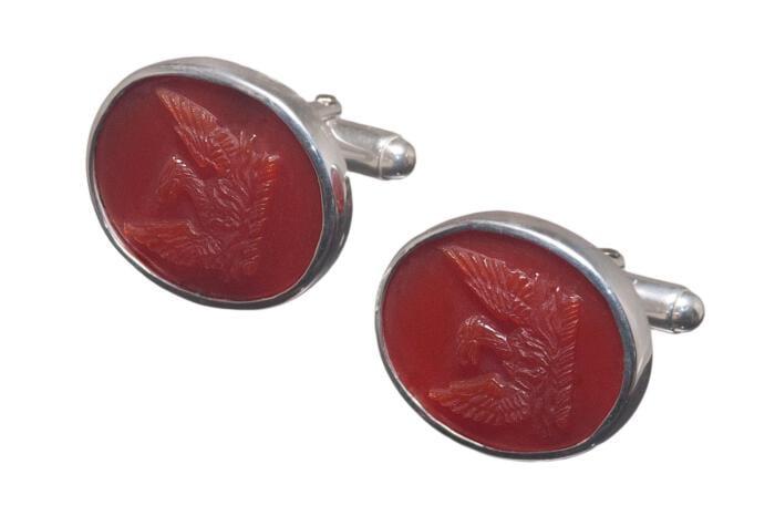 Phoenix Cufflinks Agate Heraldic Noble Family Crest Sterling Silver 925