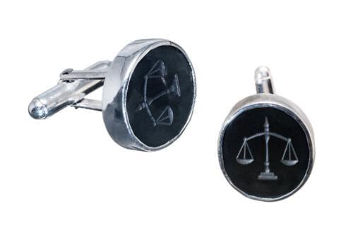 Black Onyx Lawyers Cufflinks Silver