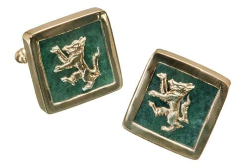 Square Wolf Jade Cufflinks - Gold Plated Sterling Silver