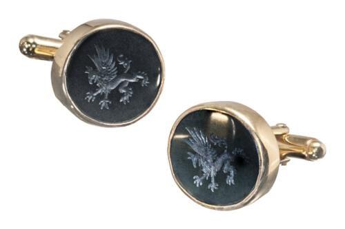 Gold Plated Black Onyx Griffin Cufflinks