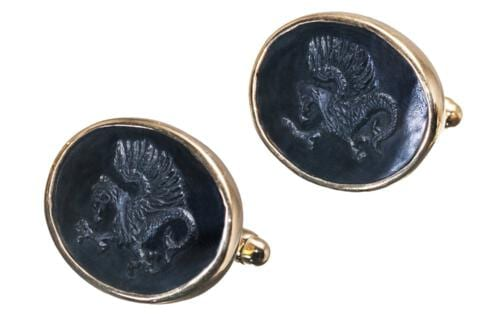 Black Onyx Griffin Cufflinks - Gold Plated Sterling Silver