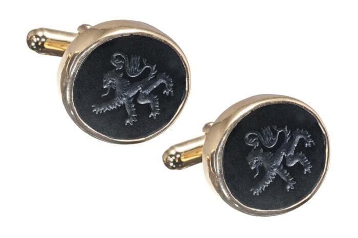 Black onyx lion cufflinks