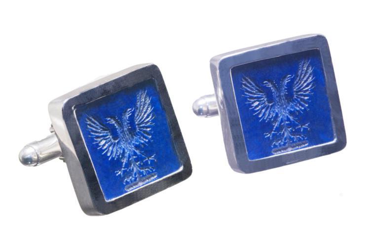 Lapis Eagle Cufflinks Genuine High Quality Gemstone Heraldic Sterling Silver 925