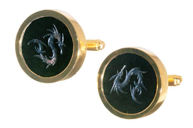 Dragon Cufflinks Hand Engraved Black Onyx Genuine Gemstone Gold Plated Sterling Silver 925
