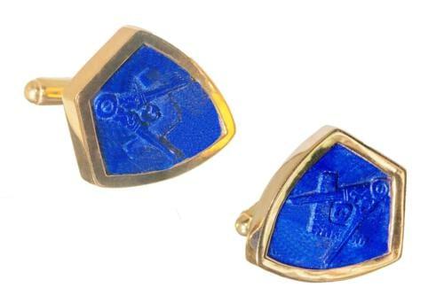 Masonic Cufflinks - Lapis Lazuli - Gold Plated Sterling Silver