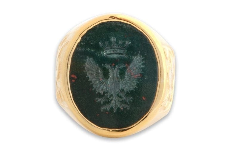 Bloodstone Crest Ring Prussian Eagle With Crown Intaglio Genuine Gemstone Gold Plated Sterling Silver 925
