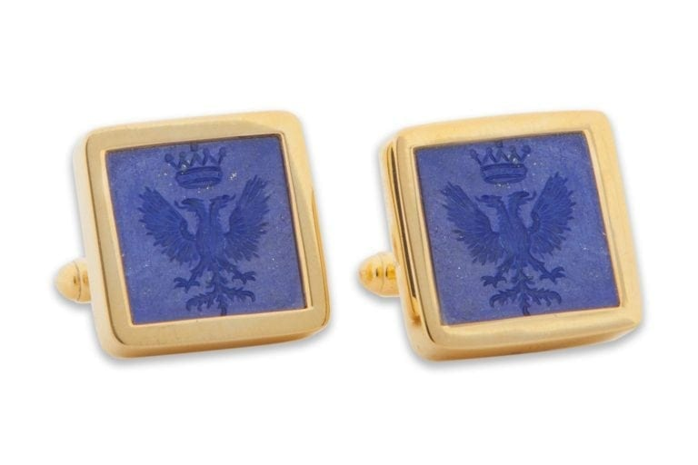 Lapis Twin Headed Eagle And Crown Cufflinks Genuine Gemstone Heraldic Gold Plated Sterling Silver 925