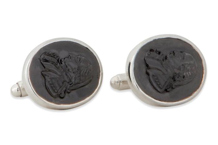 George Cufflinks Heraldic Hand Carved Black Onyx Sterling Silver 925