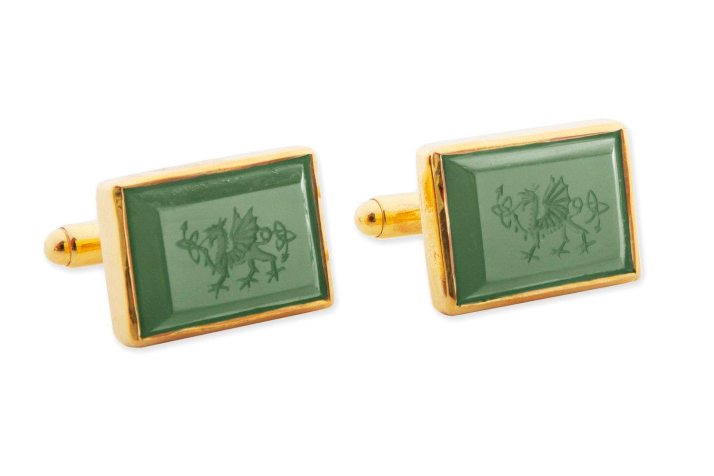 Welsh Dragon Cufflinks -Canada Jade = Rectangular - Gold
