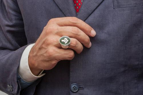 Masonic Ring Jade Overlaid