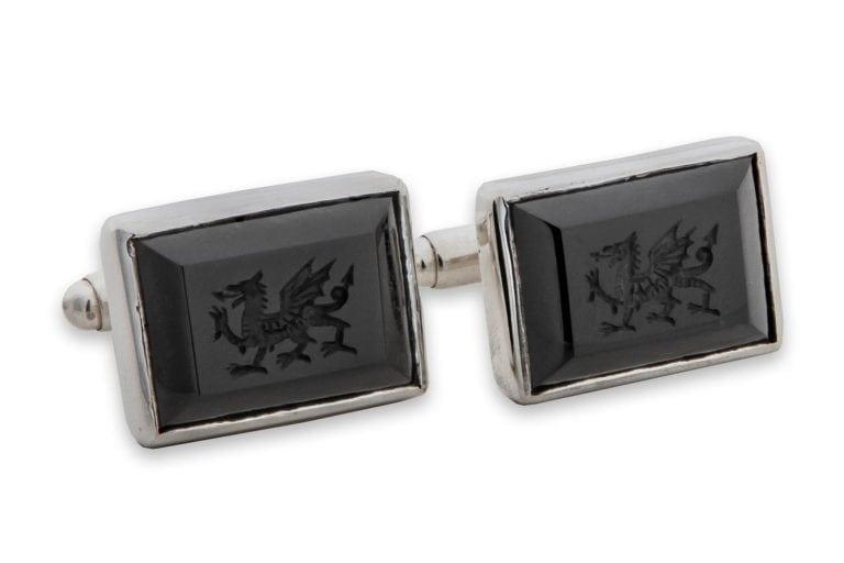 Welsh Dragon Celtic Cufflinks Black Onyx Genuine Gemstone Sterling Silver 925