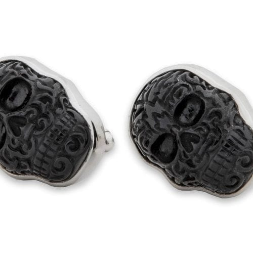 balck Onyx skull cufflinks in Aztec style on silver