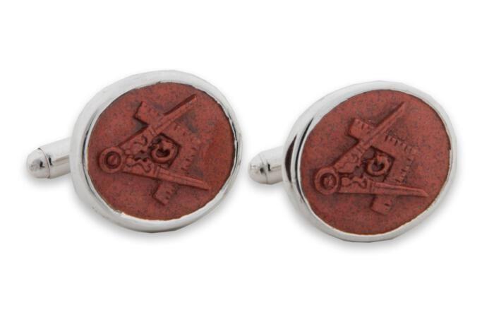 Masonic Cufflinks Hand Carved Red Jasper Set Square Compass Fine Sterling Silver 925
