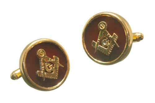 Masonic Cufflinks - Red Agate - Set Square Compass - Gold Plated Sterling Silver
