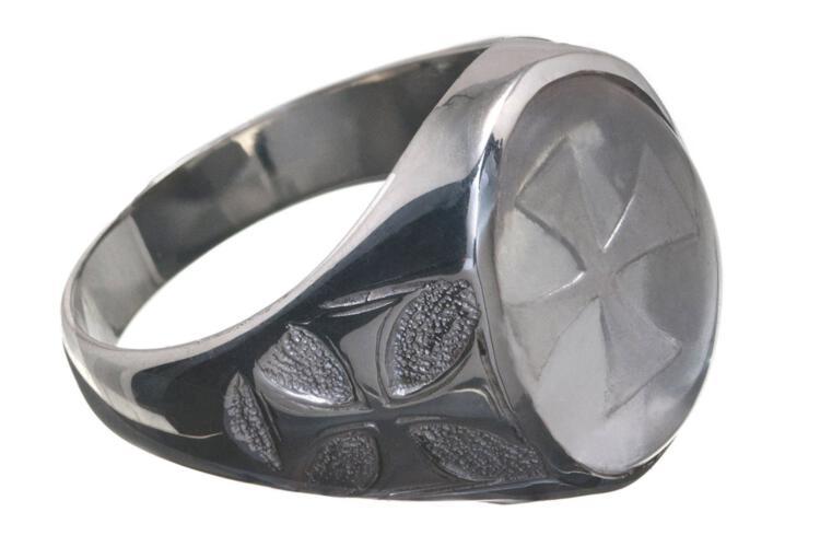 Rock Crystal Ring Special Templar Cross Regnas Signet Sterling Silver 925