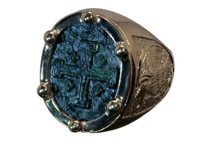 Jade Ring Special Handmade Jerusalem Cross Mexico Motif Gold Plated Sterling Silver 925