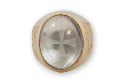 rock crystal templar cross ring