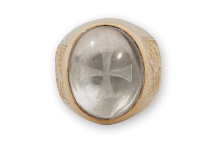 rock crystal templar cross ring