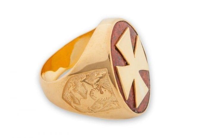 Templar Cross ring - Red Jasper