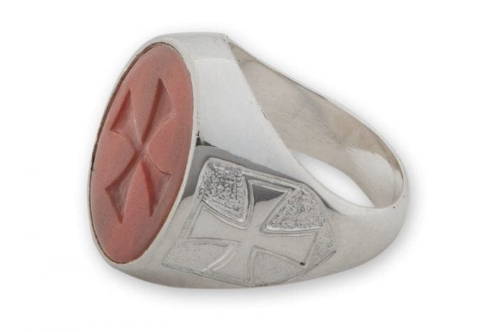 Red Templar Cross Ring