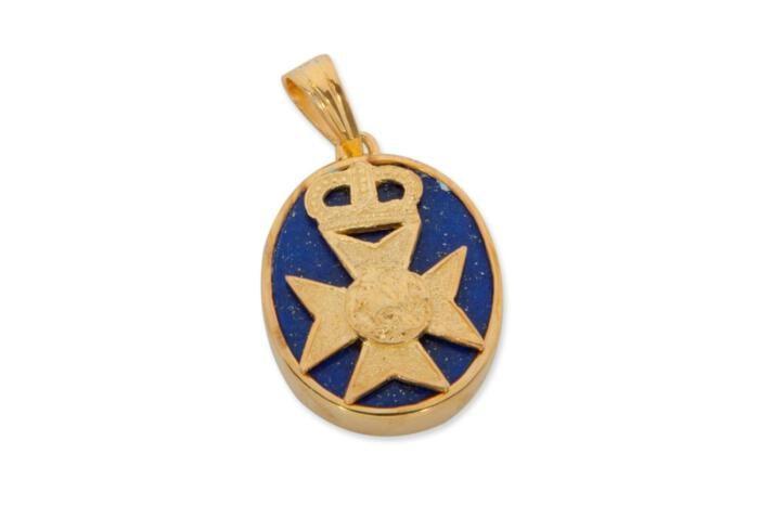 Lapis Regimental Badge Pendant Gold Plated Sterling Silver 925