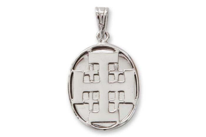 Silver Overlaid Jerusalem Crosses Pendant Sterling Silver 925