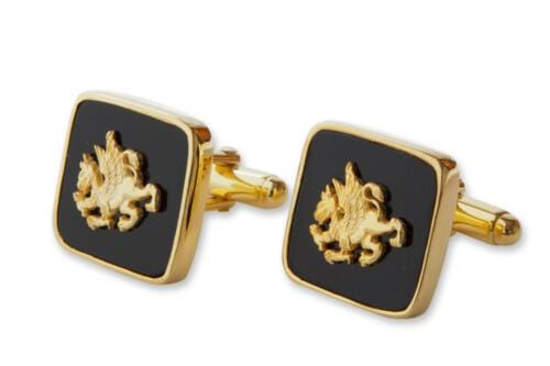 Griffin Cufflinks - Black Onyx - Gold Plated Sterling Silver