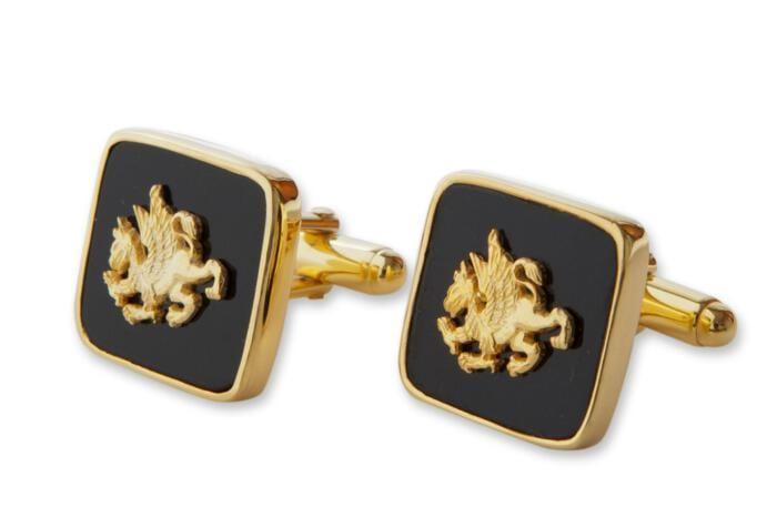 Griffin Cufflinks Black Onyx Genuine Gemstone Regnas Gold Plated Sterling Silver 925